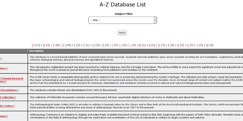 Browse databases